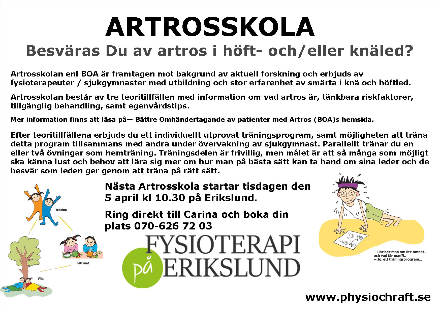 Artrosskola på Erikslund - start 5 april