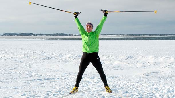 Carina Hammarstrand i skidspåret.