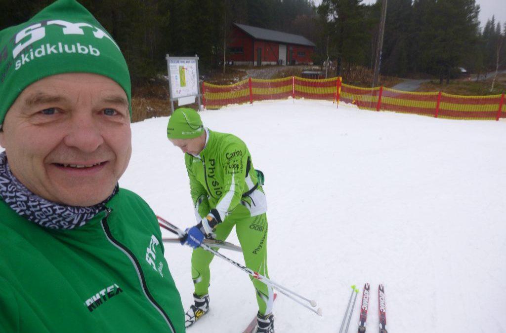 Torsdag Säsongspremiär på snö! Gammal snö i Trysil.