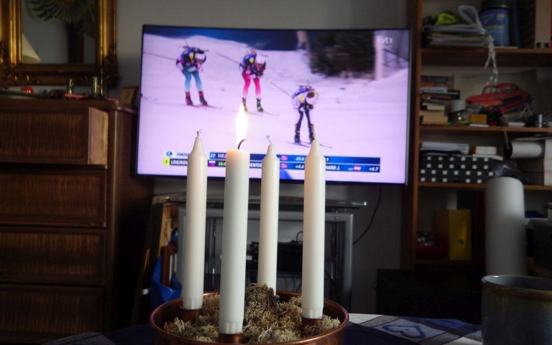 Söndag Första advent med stavar och vinterstudio