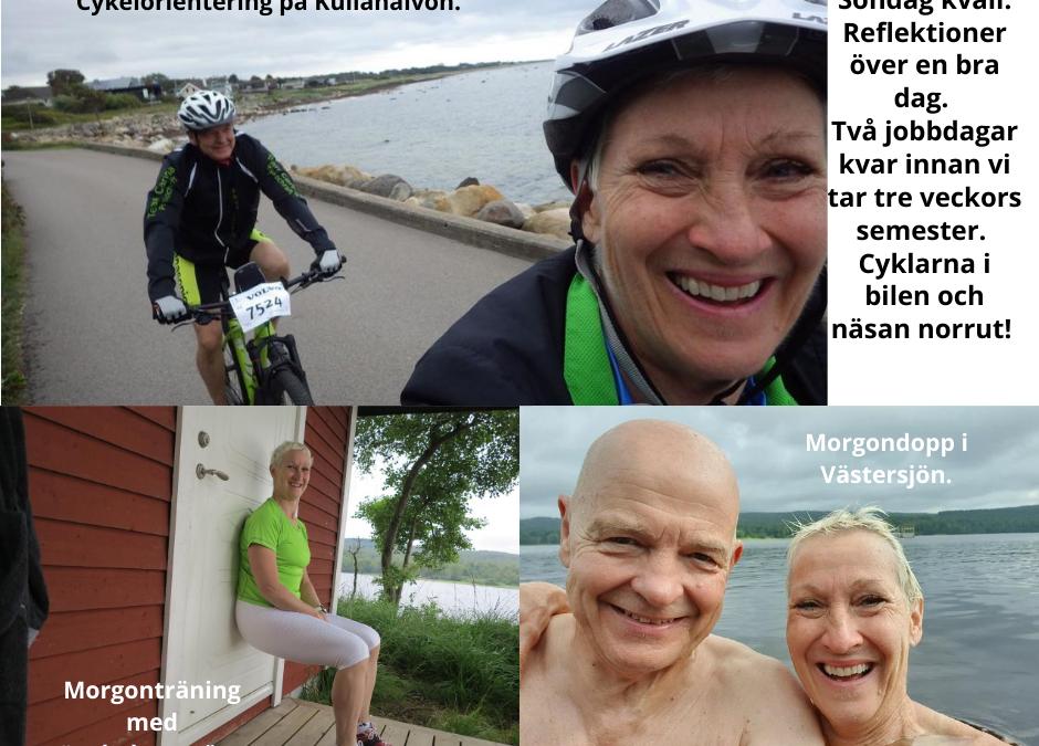 Söndag – Morgon på bryggan, cykelorientering på Kullahalvön. En bra dag!